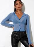 Blusa curta transparente verão azul sexy com mangas compridas