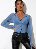 Blusa corta transparente sexy azul de verano con mangas completas