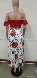 Summer Print Red Ruched Crop Top and Slit Long Skirt 2PC Matching Set