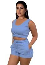 Conjunto de 2 piezas de chaleco corto azul informal de verano y pantalones cortos de chándal