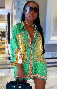 Летнее повседневное платье с зеленой блузкой в африканском стиле с принтом
