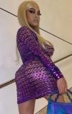 Vestido miniclube sexy metálico oco roxo de verão com mangas compridas