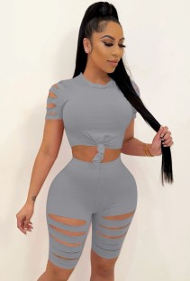 Summer Grey Sexy Ripped Bodycon Shirt and Shorts 2pc Set