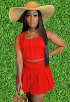 Conjunto de 2 piezas de chaleco corto rojo informal de verano y falda plisada de cintura alta