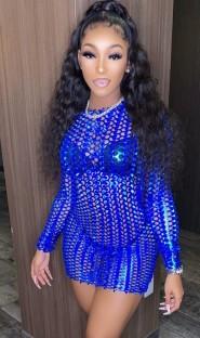 Летнее синее открытое сексуальное металлическое мини-клубное платье с длинными рукавами
