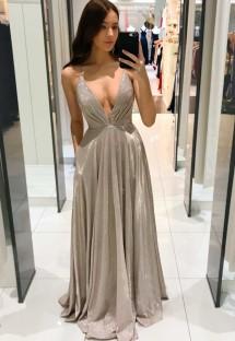 Summer Formal Grey Deep-V Strap Evening Dress