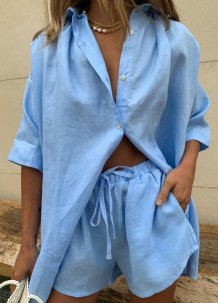 Summer Casual Blue Cotton Blouse and Shorts Lounge Set