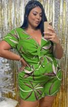 Mamelucos casuales anudados con cuello en V verde y estampado de verano de talla grande