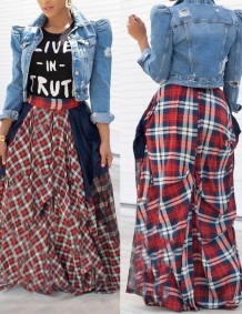 Summer High Waist Plaid Print Long Skrit с принтом