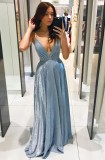 Robe de soirée d'été à bretelles en V profond bleu