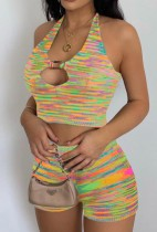 Summer Casual Knit Stripes Halter Crop Top and Shorts Set