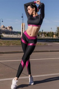 Summer Sports Block Color Yoga Crop Top and Legging Set
