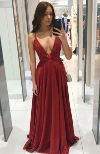 Summer Formal Red Deep-V Strap Evening Dress