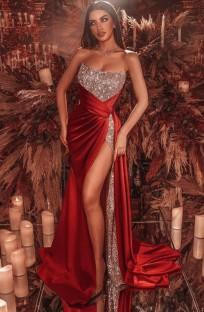 Summer Formal Red Sequins Strapless Slit Evening Dress