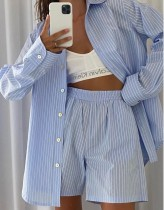 Summer Casual Blue Stripes Cotton Blouse and Shorts Lounge Set