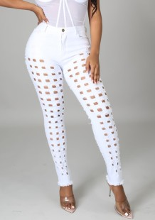 Summer White Stylish Hollow Out Fitted Jeans