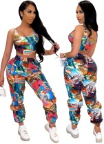 Summer Print Sexy Crop Top and High Waist Pants Set