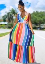 Maxi abito lungo con cinturino a strisce colorate estive