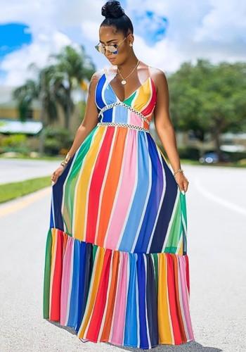 Sommer bunte Streifen Träger langes Maxi Sommerkleid