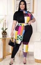 Conjunto de pantalón y top corto ajustado de colores de talla grande de verano