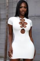 Mini vestido de club sexy con cordones de verano blanco