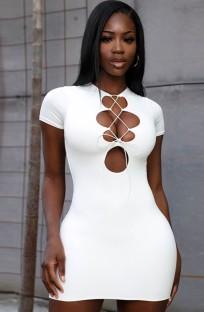 Vestito da mini club sexy con lacci bianco estivo