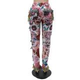 Весенние повседневные брюки с принтом в африканском стиле с кисточками