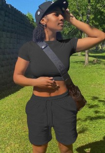 Summer Black Casual Crop Top und Sweatshorts Set