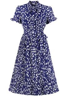 夏のヴィンテージフォーマルプリーツプリントブルースケータードレス