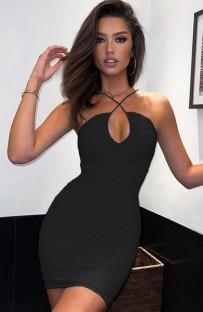 Mini abito sexy con scollo all'americana arricciato nero estivo