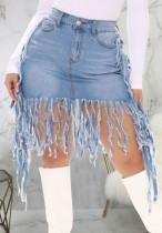 Falda de mezclilla con flecos de cintura alta azul de verano