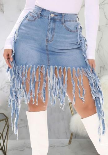 Summer Blue High Waist Fringe Denim Skirt
