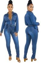 Spring Button Up blauwe denim jumpsuit met lange mouwen en riem
