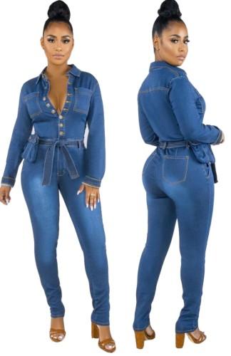 Spring Button Up Long Sleeve Blue Denim Jumpsuit with Belt
