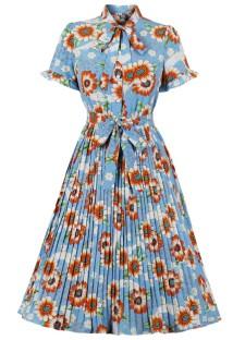 Летнее винтажное формальное плиссированное платье с цветочным узором