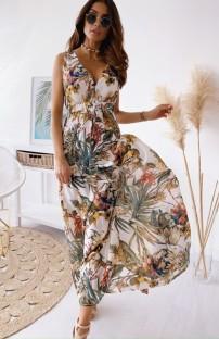 Robe longue d'été sans manches à col en V à fleurs et à col en V