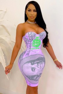 Летнее сексуальное клубное платье без бретелек с принтом