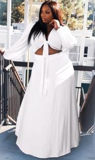 Летний белый укороченный топ с длинными рукавами с узлом и длинной юбкой больших размеров