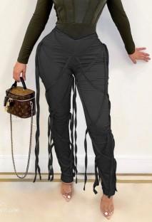 Летние черные сексуальные брюки с завязками и завязками для вечеринок