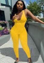Zomer gele sexy mouwloze bodycon jumpsuit