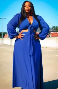 Летний синий укороченный топ с длинными рукавами и длинными рукавами больших размеров и комплект с длинной юбкой