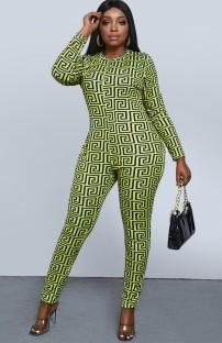 Летний зеленый облегающий комбинезон большого размера с длинными рукавами и принтом