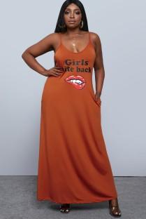 Robe longue d'été à bretelles décontractées orange grande taille