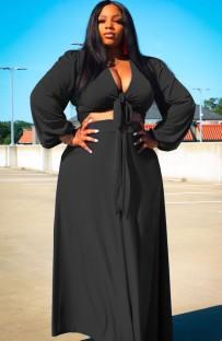 Ensemble de top court à manches longues et jupe longue noir Summer Plus Size