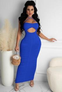 Летнее синее сексуальное платье миди с вырезом и рюшами на бретелях