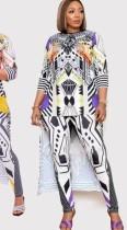 Zomerse Plus-maat print moeder tweedelige broek set