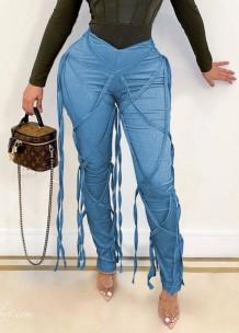 Летние синие сексуальные брюки для вечеринок с завышенной талией