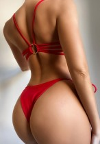 Roupa de banho sexy de duas peças vermelhas de verão
