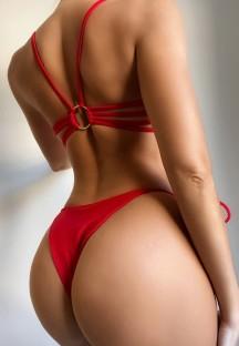 Летний красный купальник из двух частей с сексуальными стрингами