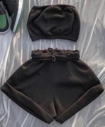 Sommer lässiges Bandeau-Oberteil und Sweatshorts aus schwarzer Baumwolle